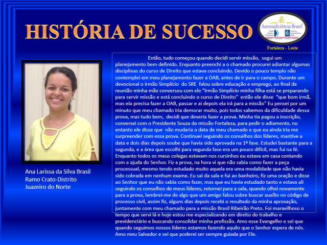 HISTÓRIA DE SUCESSO-Larissa
